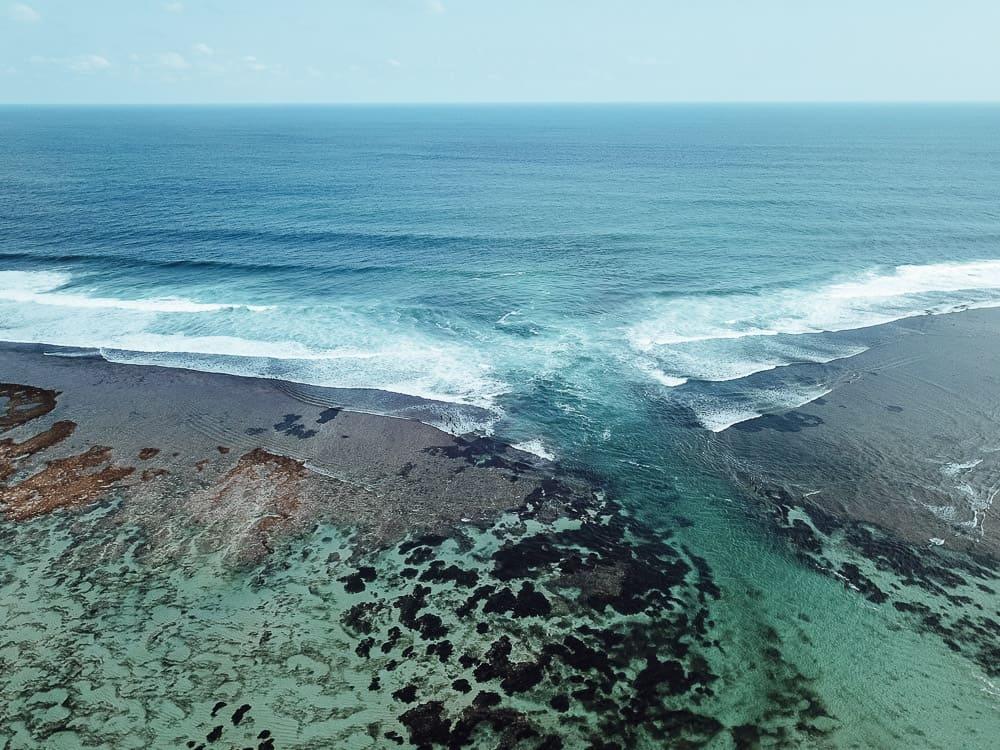 Drone shot of Green Bowl Beach Bali