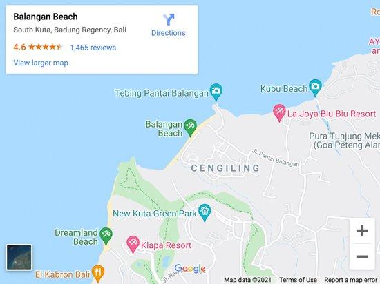 balangan beach map