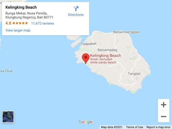 kelingking beach map