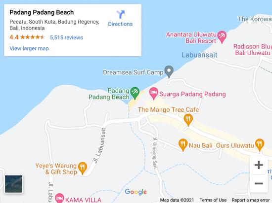 padang padang beach map