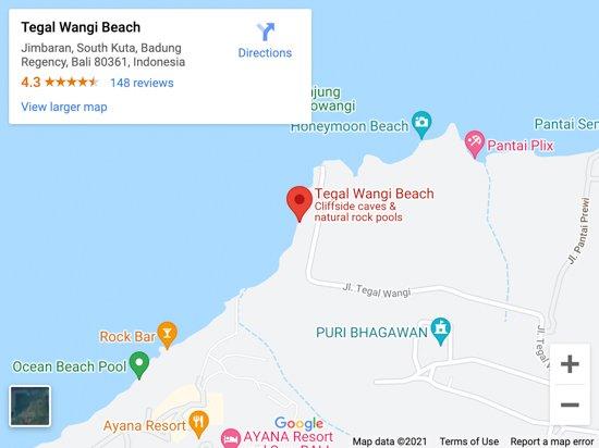 tegal wangi beach map