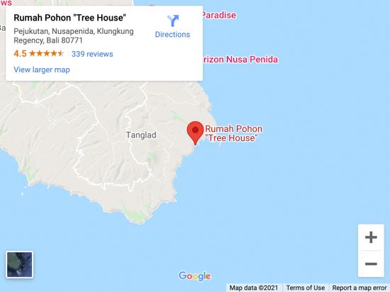 tree house nusa penida map