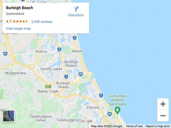 burleigh beach map