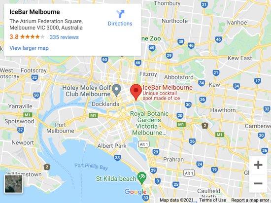 ice bar melbourne map