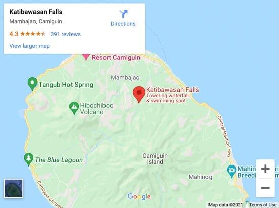 katibawasan falls map