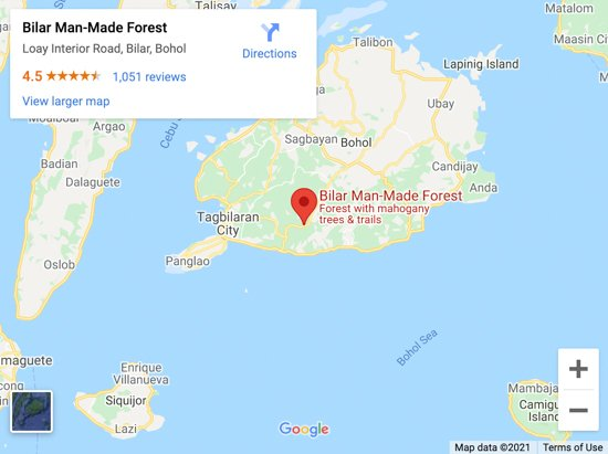 man made forest bohol map