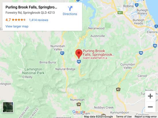 purlingbrook falls map
