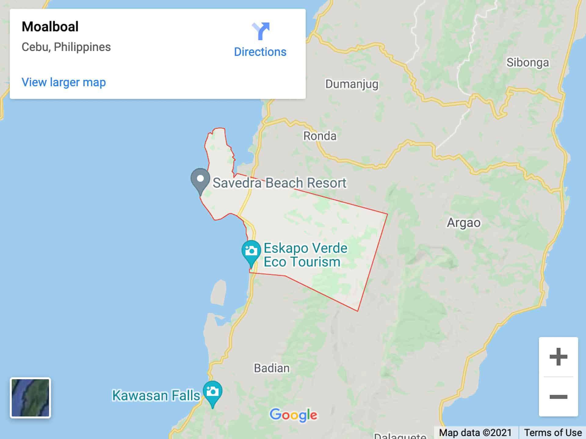 south cebu map