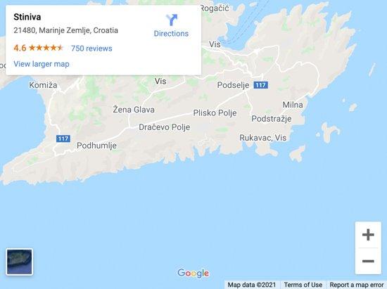 stiniva beach map