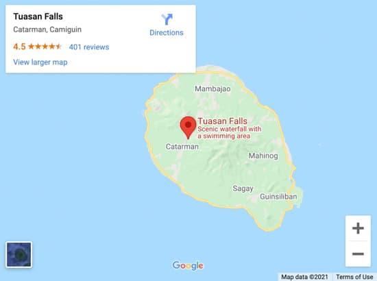 tuasan falls map