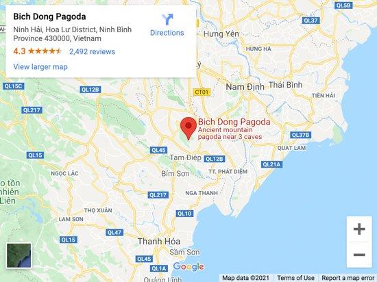 bich dong pagoda map