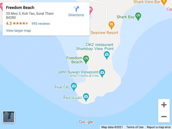 freedom beach kot tao map