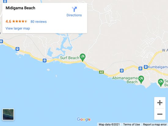 midigama beach map