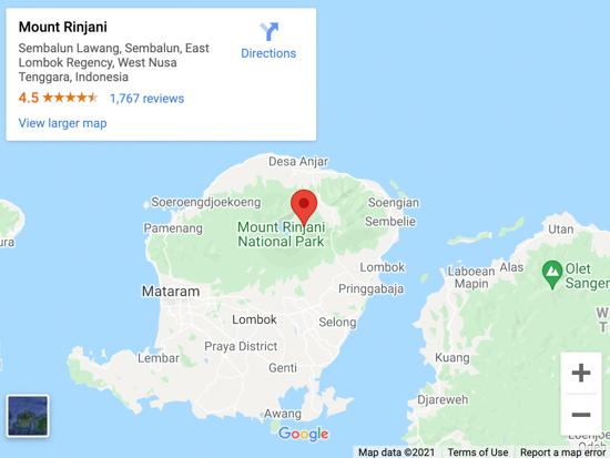 mount rinjani map