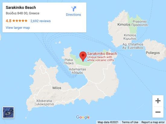 sarakiniko beach map
